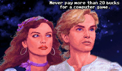 Elaine e Guybrush na versão original do game